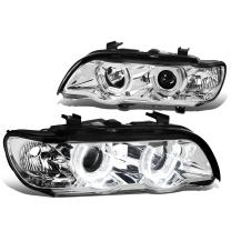 Pair of Chrome Housing 3D Crystal U-Halo Projector Headlights Replacement for BMW E53 X5 00-03