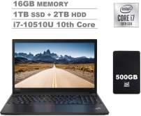 "2020 Lenovo ThinkPad E15 15.6"" FHD Full HD (1920x1080) IPS Business Laptop (Intel 10th Quad Core i7-10510U, 16GB DDR4 RAM, 1TB PCIe SSD + 2TB HDD) Fingerprint, Type-C, HDMI, Windows 10 Pro+IST 500GB"