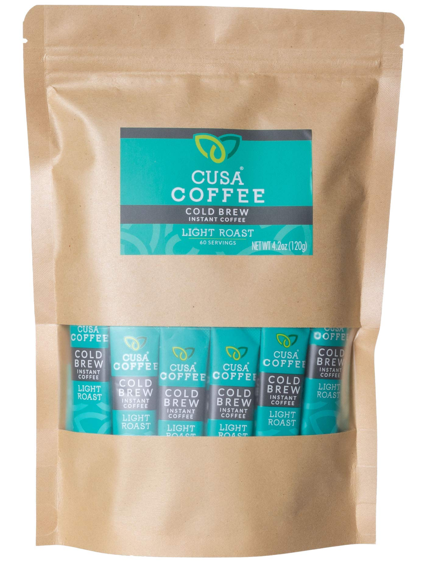 Cusa Coffee: Light Roast Cold Brew Instant Coffee - No Sugar or Preservatives - Ready in Seconds - Hot or Iced (60 Servings)