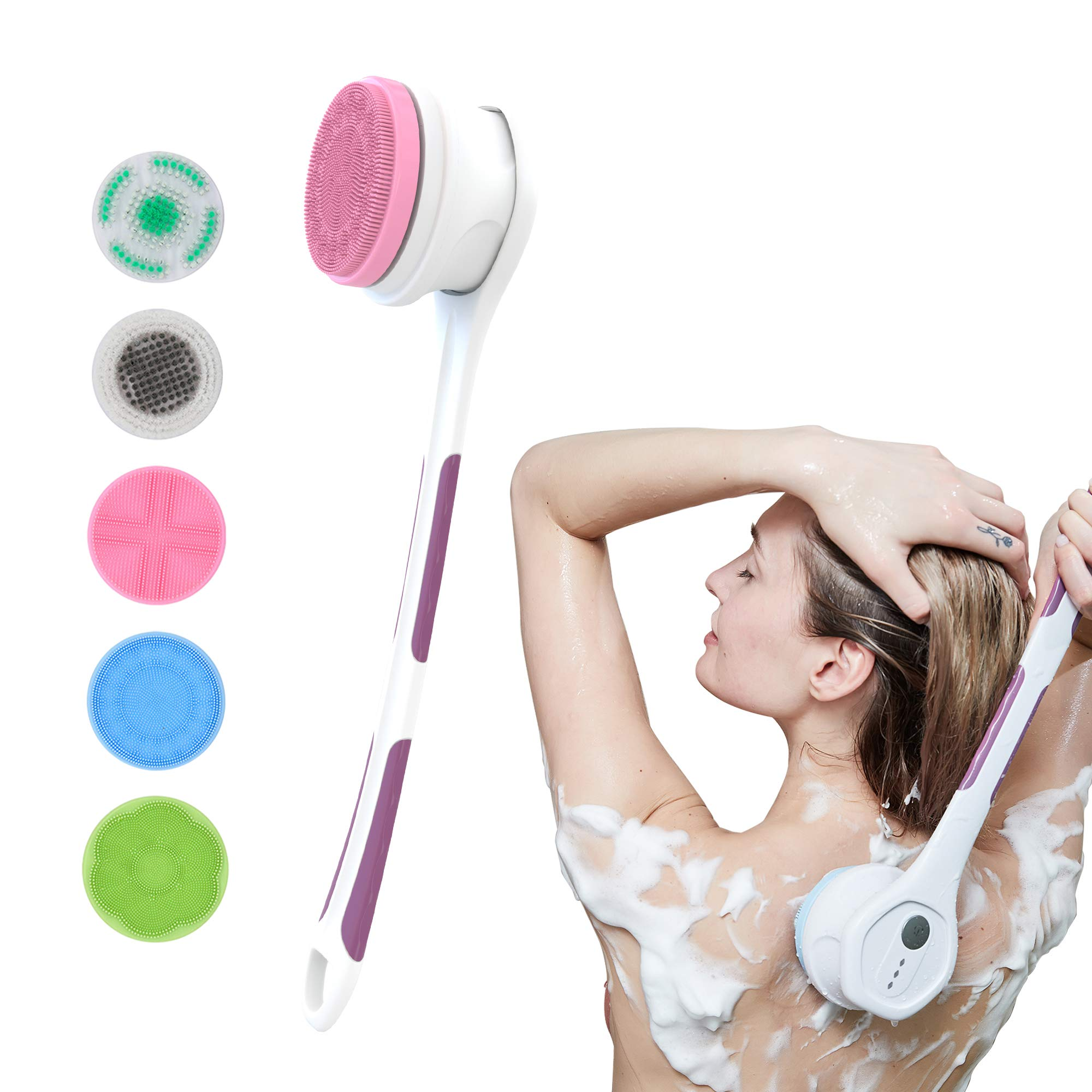 100FIXEO USB Charge Electric Body Bath Brush, Long Handle For Body Scrubbers For Use In Shower With 5 Attachments Rotating Waterproof Facial Cleansing Brush (Purple)