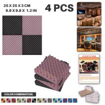 Acepunch 4 Pack - 2 pcs Black and 2 pcs Purple Egg Crate Convoluted Grid Acoustic Foam Panel Studio Soundproofing Wall Tiles Sound Insulation 19.6 X 19.6 X 1.2 in AP1052
