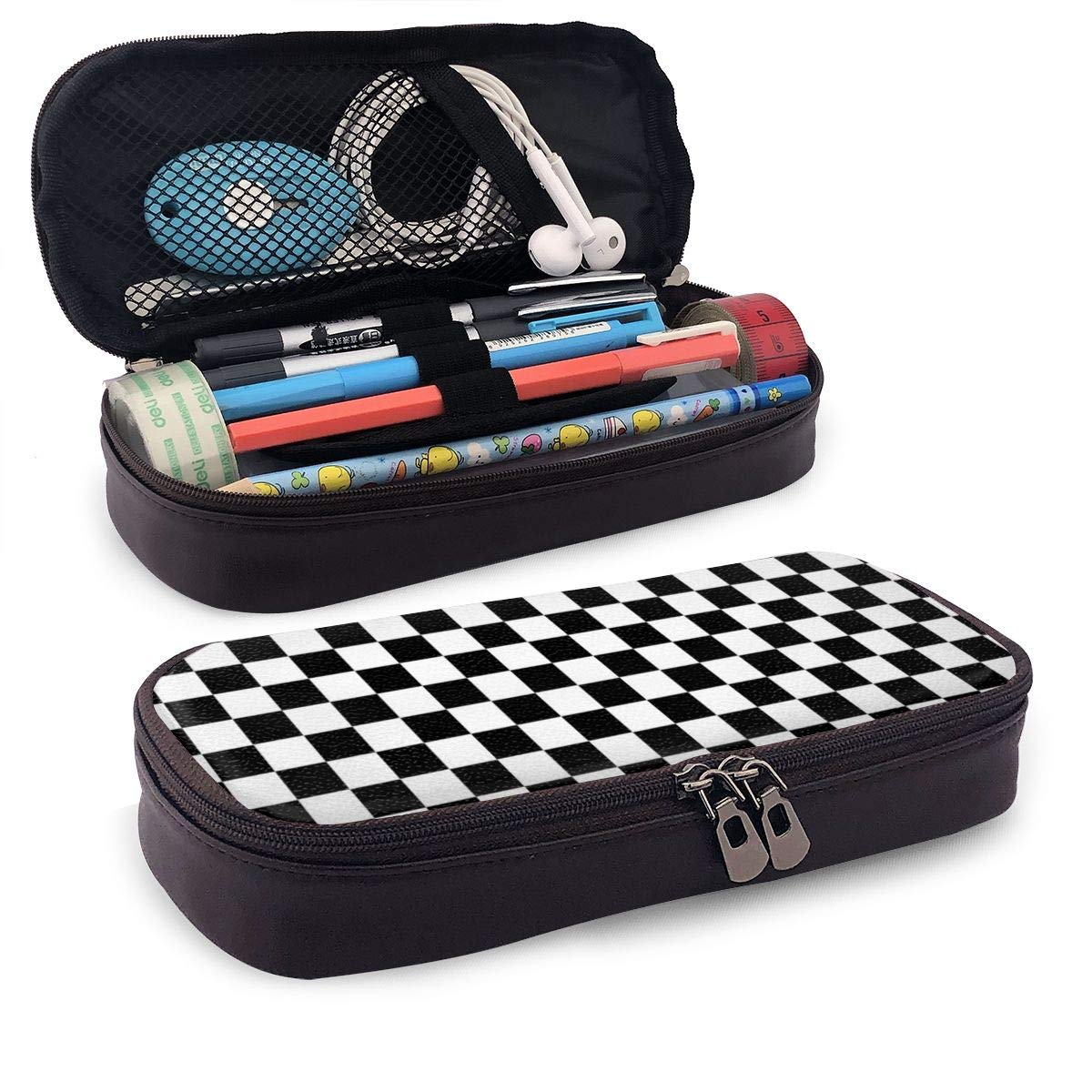 AHOOCUSTOM Checkerboard Black and White Large Capacity Leather Pencil Case Multi-Functional Stationery Pens Pouch Box with Zipper for Girls Boys or Adults (Brown)