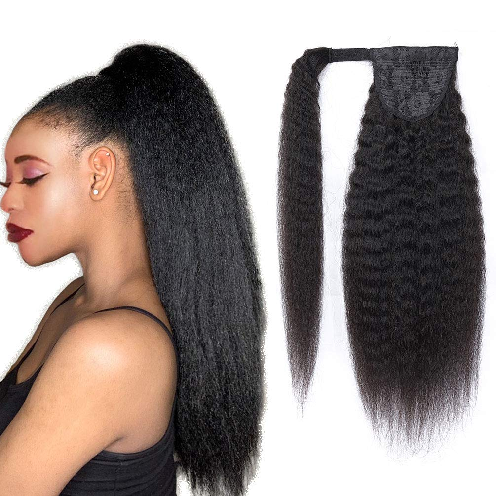 Ponytail Extensions Magic Paste Human Hair Wrap Around Ponytail Kinky Straight Ponytail 100% Real Remy Hair Natural Black Pony Tails Hair Extensions For Women 12Inch 105g