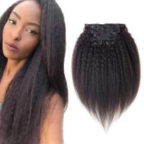 """viviaBella Yaki Straight Clip in Human Hair Extensions 70g Net Hair 10"""" Natural Black Color Can Be Dyed Double Weft 7 Peices/set 16 Clips (70g 10"""", Natural Black)"""