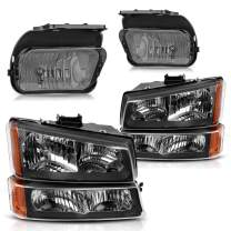 AUTOSAVER88 Headlight Assembly and Fog Lights Kit Compatible with 03-06 Chevy Avalanche / 2003-2007 Chevrolet Silverado 1500 2500 3500 1500HD 2500HD