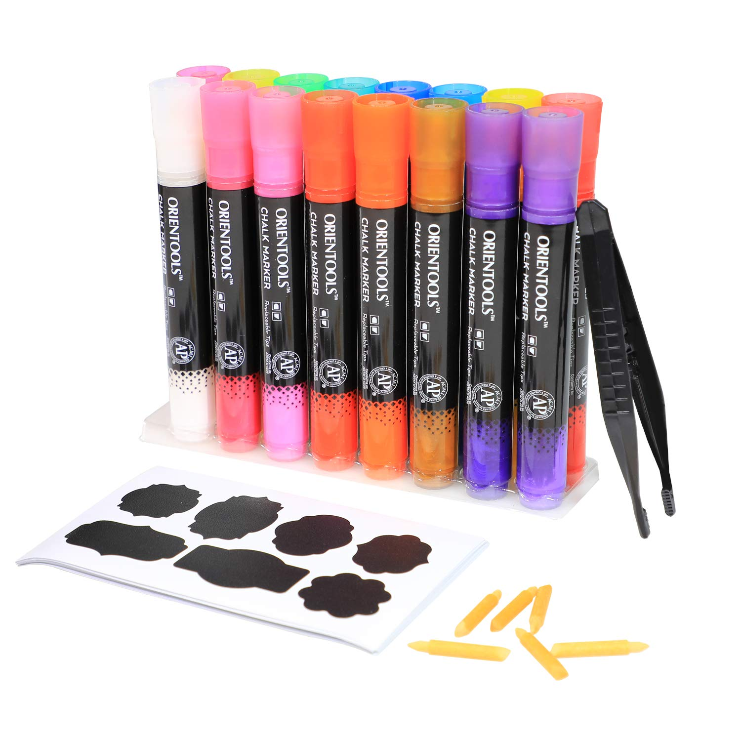 Liquid Chalk Markers for Chalkboard and Multi Surface Use, 16 Pack Window Marker Chalk Pens with 16 Replaceable Chisel Tips (16 Bright Colors, 1 pc Tweezers, 50 Labels, 2 Sticky Stencils)