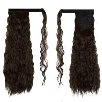FESHFEN 20 Inch Long Curly Wrap Around Ponytail Hairpiece Medium Brown Corn Wave Magic Paste Synthetic Ponytail Hair Extension for Women Girls(6#)