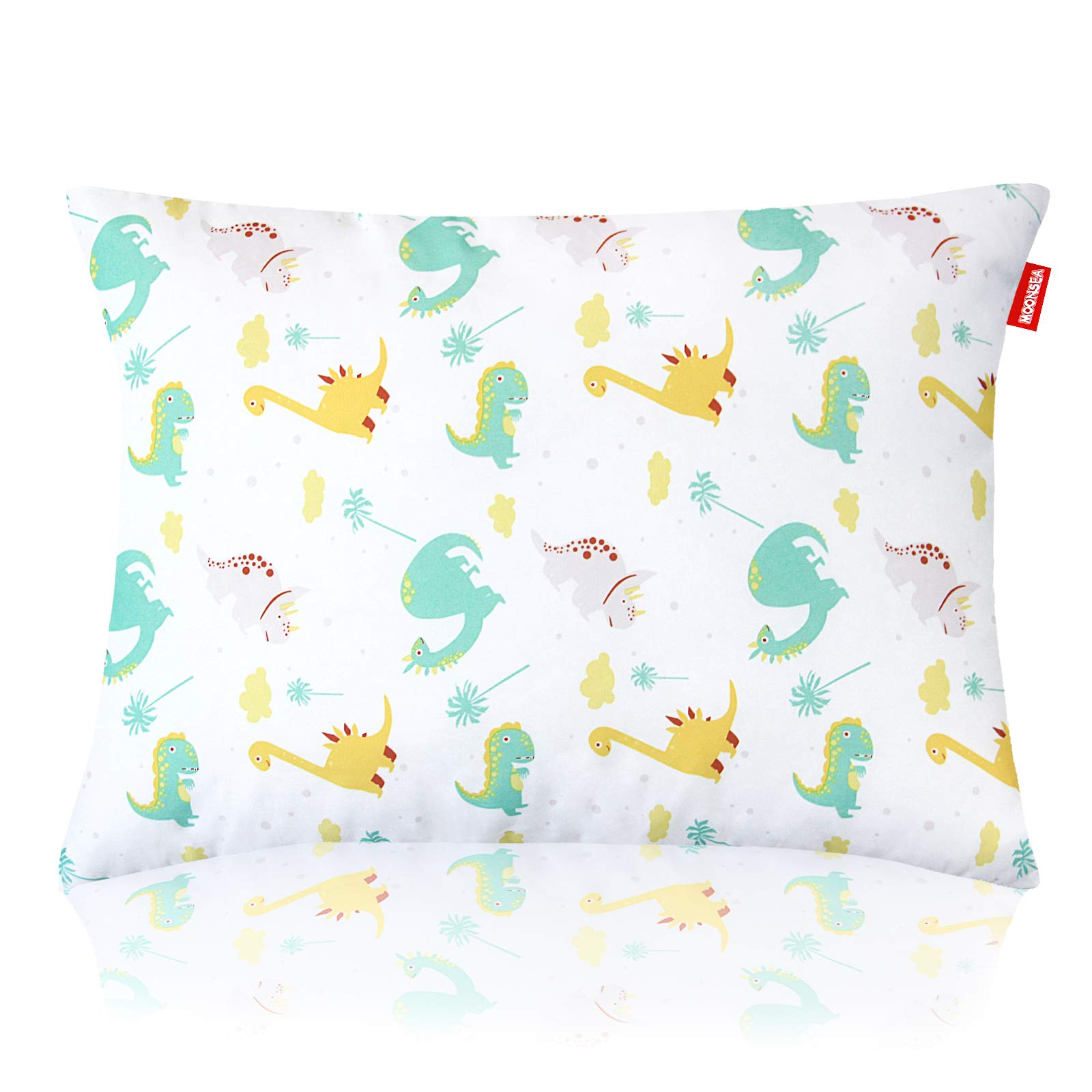 Print Toddler Pillow for Sleeping, Dinosaur Pillow for Baby, Washable Ultra Soft Kids Pillows Perfect for Travel, Toddler Cot, Baby Crib, 14 x 19 inch No Pillowcase Needed (Dinosaur)