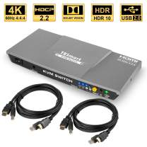 TESmart 2 Port HDMI KVM Switch 2x1 USB 2.0 Port 4K@60Hz UHD with 2 Pcs 5ft KVM Cables Supports USB 2.0 Device Control up to 2 Computers/Servers/DVR-HDMI, HDCP 2.2, HDR, RGB, YUV, 18 Gbps