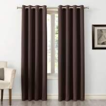 "Sun Zero Easton Blackout Energy Efficient Grommet Curtain Panel, 54"" x 63"", Chocolate Brown"
