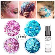 HITOP Face Glitter, 2 Pack Christmas Hair Glitter Festival with Gel, Body Glitter Makeup for Girls (Pink & Moon Blue)
