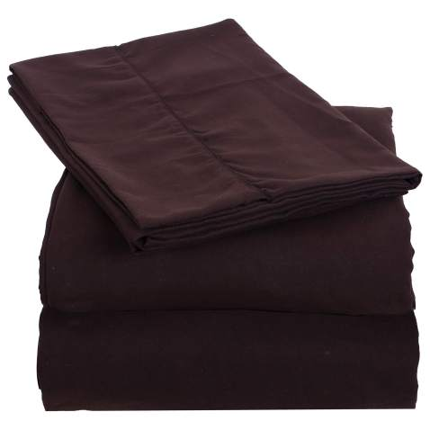 "THE ART BOX Microfiber Bedding Set 4 Piece – 1 Microfiber Bed Sheet with 1 Flat Sheet (108""x90""), 1 Fitted Sheet(80""x60""), 2 Pillowcase (20""x30"") (Queen, Brown)"