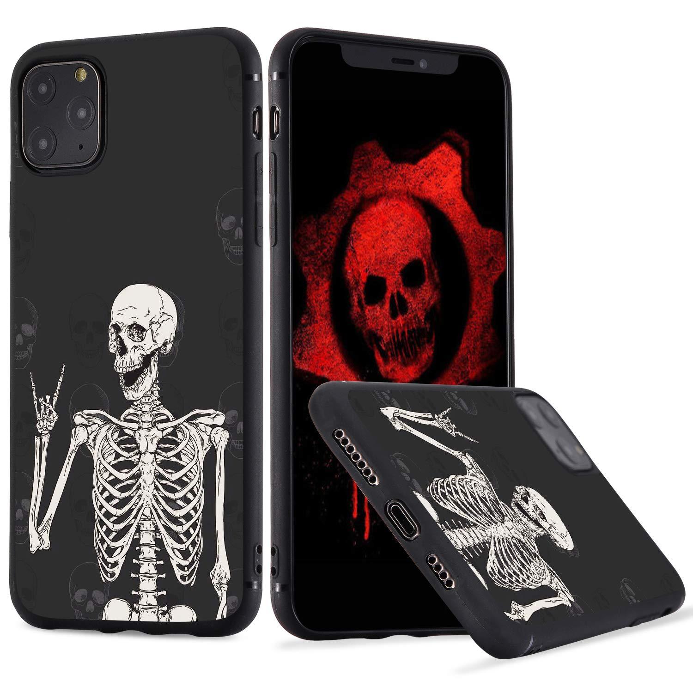 LuGeKe Skeleton Phone Case for iPhone11, Smile Skull Patterned Boys Design Case Cover,SofrTPU Anti-Stratch Bumper Protective Cool Boys Phonecase(Gothic Skeleton)