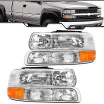 Epic Lighting OE Fitment Replacement Headlight Signal Marker Light Compatible with 1999-2002 Silverado Classic 2000-2006 Suburban Tahoe [ 4-Piece ] Left Right Pair Combo Set