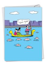 Gondola Butts - Hilarious All Occasion Greeting Card with Envelope (4.63 x 6.75 Inch) - Funny Gondola Ride All-Occasion Notecard - Cartoon Design Stationery Notecard C6194OCB