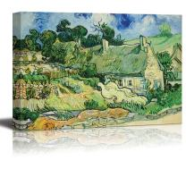 """wall26 Thatched Cottages at Cordeville by Vincent Van Gogh - Canvas Print Wall Art Famous Painting Reproduction - 24"""" x 36"""""""