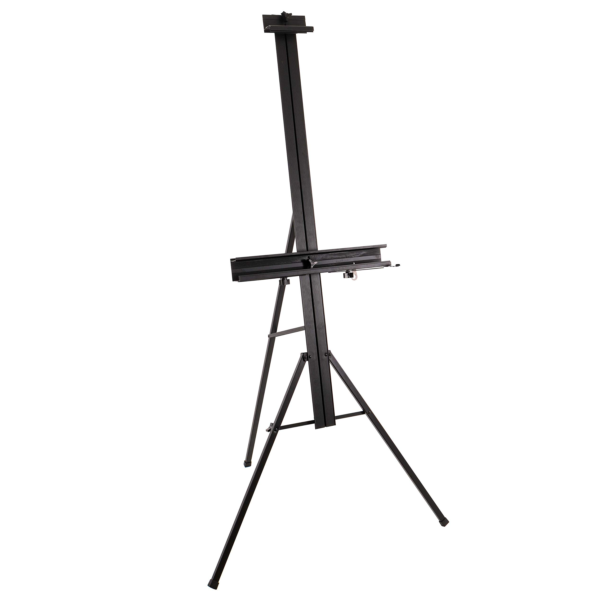 """U.S. Art Supply Del Mar 69"""" High Aluminum Single Mast Artists Studio Easel and Floor Display Stand - Professional Heavy Duty Adjustable Extra Large Canvas Height Up To 47"""" - Palette Holder, Brush Rest"""