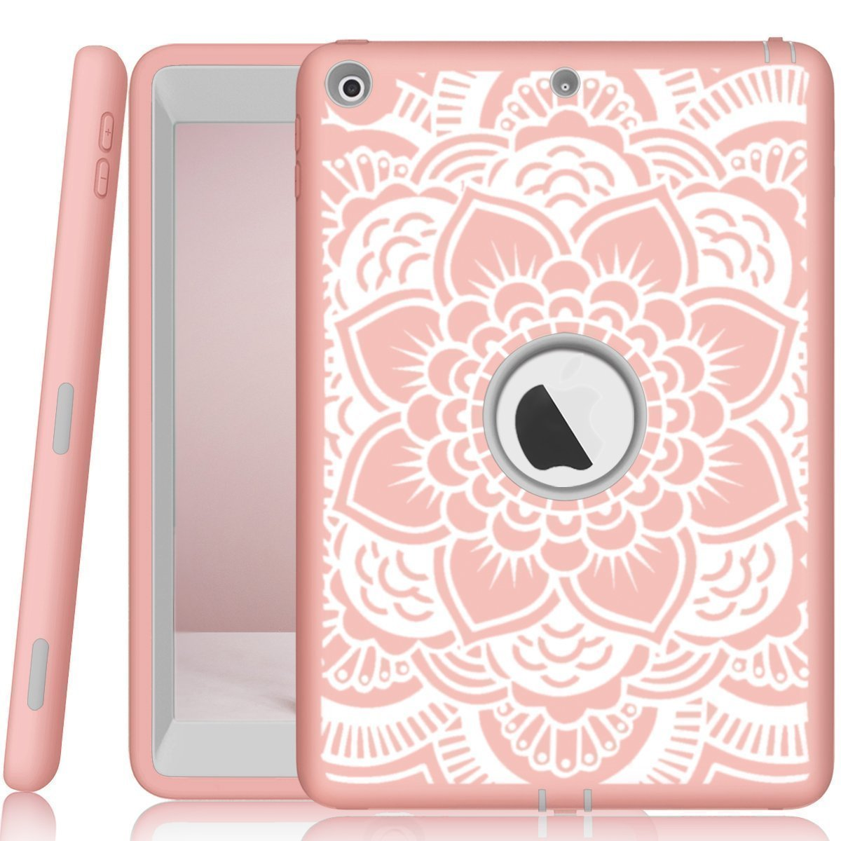 iPad case 9.7 2017 and 2018,PIXIU Heavy Duty Shockproof Full Body 3 Layer Defender Rubber Protective case Cover for iPad 5th Generation A1822 A1823 andiPad 6th A1893 A1954 FlowerRose Gold