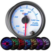 "GlowShift White 7 Color 100 PSI Fuel Pressure Gauge Kit - Includes Electronic Sensor - White Dial - Clear Lens - For Car & Truck - 2-1/16"" 52mm"