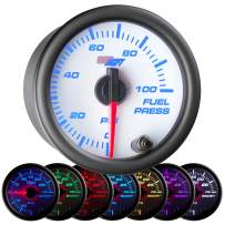 """GlowShift White 7 Color 100 PSI Fuel Pressure Gauge Kit - Includes Electronic Sensor - White Dial - Clear Lens - For Car & Truck - 2-1/16"""" 52mm"""