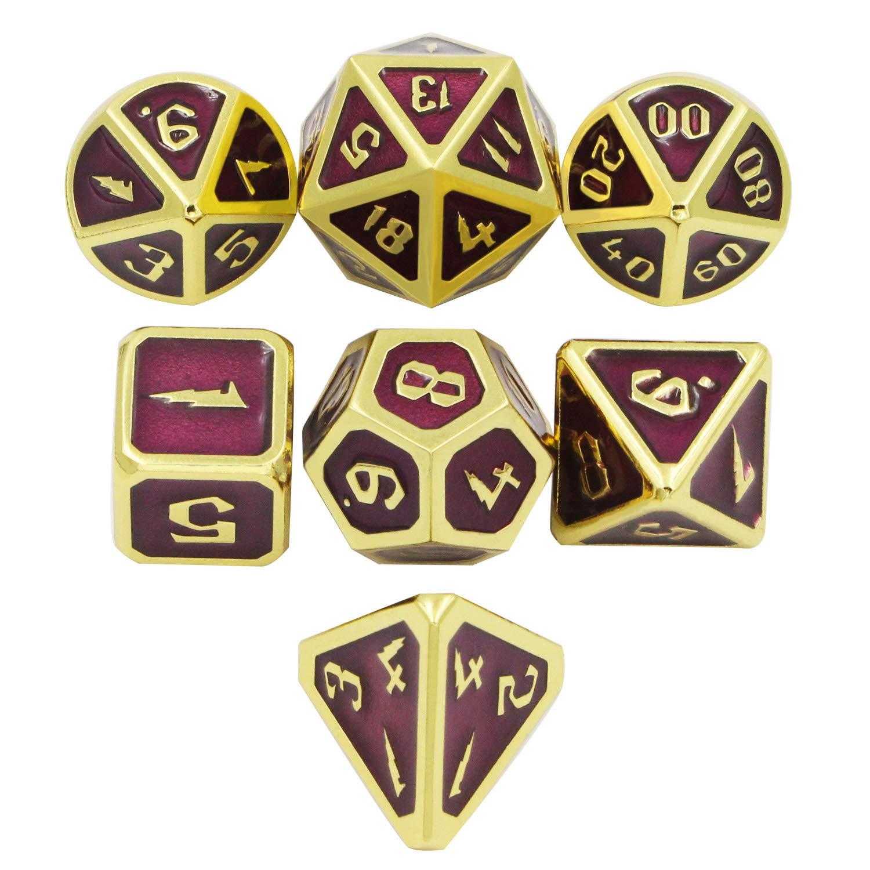 DNDWoW Metal D&D Dice Set Reddish Purple RPG Polyhedral Dice Set in Gold Number for Pathfinder - Burgundy Color Dice DHGP