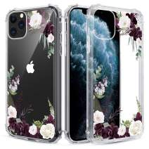 Caka Floral Clear Case for iPhone 11 Pro Flowers Floral Pattern Design for Girls Women Girly Cute Slim Soft TPU Transparent Shockproof Protective Case for iPhone 11 Pro (Red Flower)