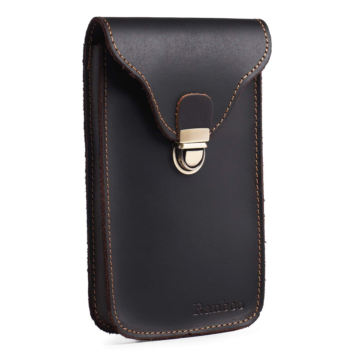 Ranboo Leather Holster Pouch for iPhone Xs Max XR X 7 8 Plus Vertical Belt Case with Belt Clip Men's Belt Loop Pouch Carrying Phone Holder for Galaxy S9 8 Plus Note 9 8 with Slim Case (Dark Coffee)