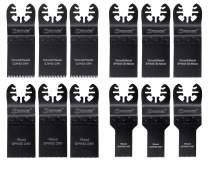 EZARC 12-piece Oscillating Saw Blades Set Universal for Quick Release Multitool, Metal and Wood Blades for Dewalt, Craftsman, Ridgid, Milwaukee, Rockwell, Ryobi, Bosch (Non-Starlock), Dremel and More