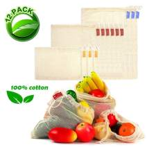 Reusable Produce Bags Grocery-LONOVE12 Pack Mesh Produce Bags Cotton Reusable Washable Eco Friendly for Veggies, Fruits, Bulk Food Shopping & Storage Bags with Tags Drawstring Lock Small Middle Large