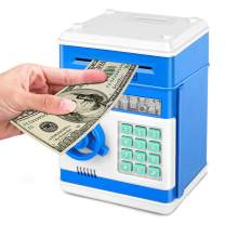 Adsoner Cartoon Piggy Bank, Electronic ATM Password Cash Coin Can Auto Scroll Paper Money Saving Box Gift for Kids (Blue)
