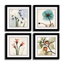 HLJ Tulip Rose Wall Art Painting in Golden Red Vivid Flower Home Wall Floral Canvas Print in 4 Panels (Frames 16x16inchx4pcs, Blue)
