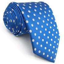 S&W SHLAX&WING Dots Blue White Ties for Men Necktie for Suit Jacket Dotty