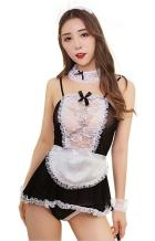 Alljoin Sexy Lingerie Outfits Frisky French Maid Sexy Costume for Women, Black/White