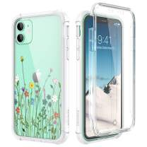 """SURITCH Clear Case for iPhone 11, [Built-in Screen Protector] Shockproof Full Body Protection Rugged Bumper Rubber Transparent with Floral Pattern Protective Case for iPhone 11 6.1""""(Colorful Flowers)"""