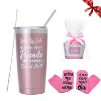 Insulated Wine Tumbler Birthday Gift Set for friends Cupcake Wine Socks Stainless Steel Stemless Wine Glasses Cup with Lid and Straw Sayings Friends Are Always Close for Women (Rose gold 20oz)