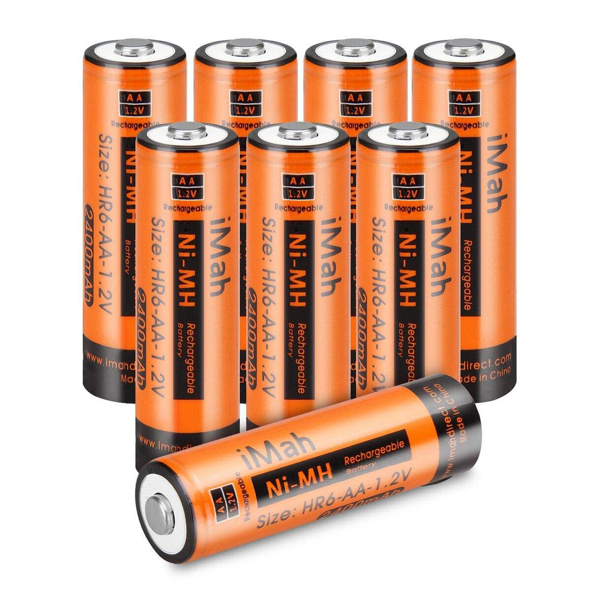 iMah HR6 AA Rechargeable Batteries Ni-MH 1.2V 2400mAh for Camera Weather Radio Flashlight, Also Compatible with Panasonic BK-3MCCA8BA BK-3HCCA8BA BK-3MCCA4BA BK-3HCCE4BE, Pack of 8