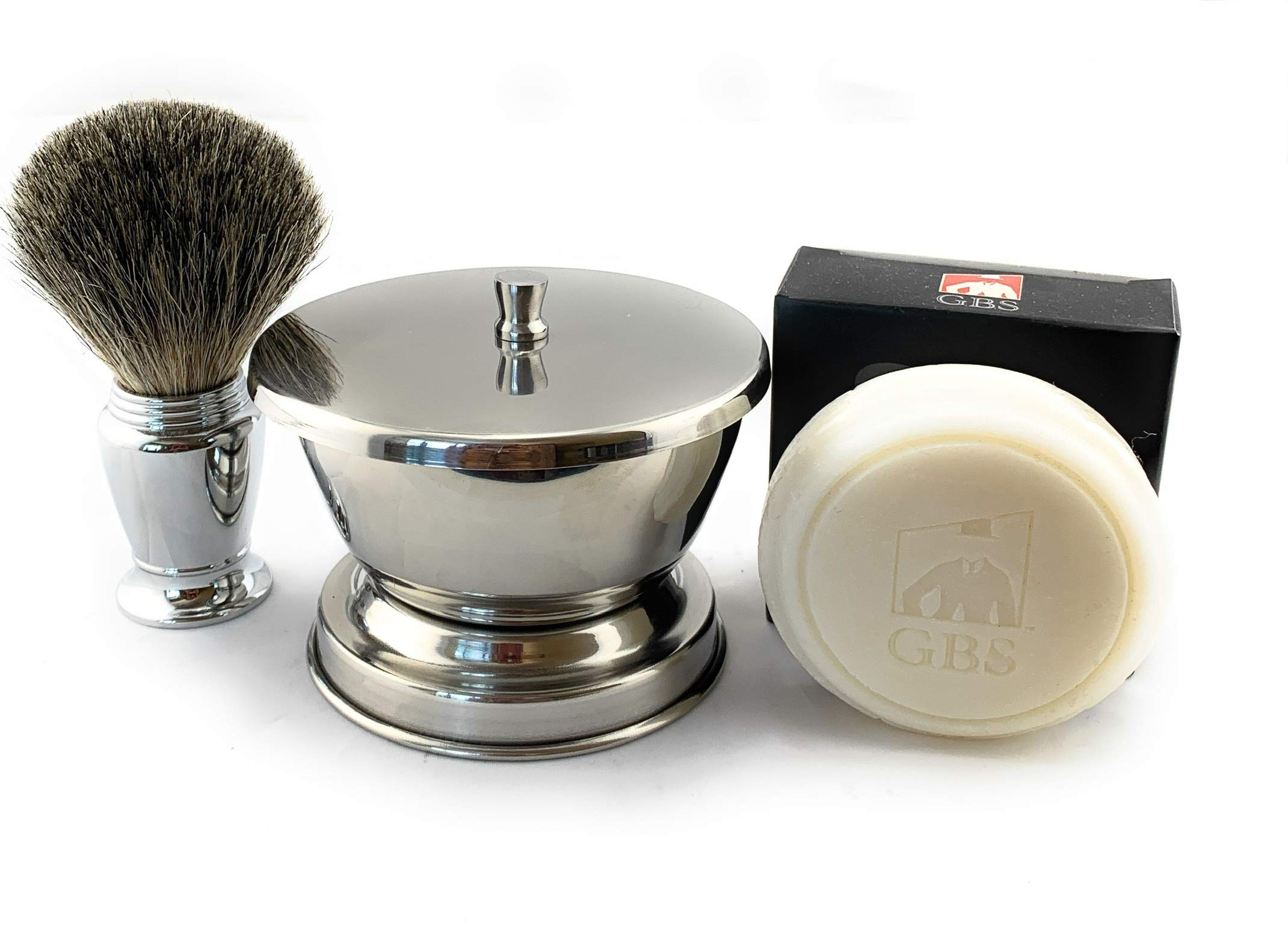 GBS Men's Wet Shaving Set - Chrome Pure Badger Shave Brush, Stainless Soap Bowl, Driftwood Natural Shave Soap Compliments Any Shaving Razor & Barber Tools. Wide Cup Produces Rich Lather (With Lid)