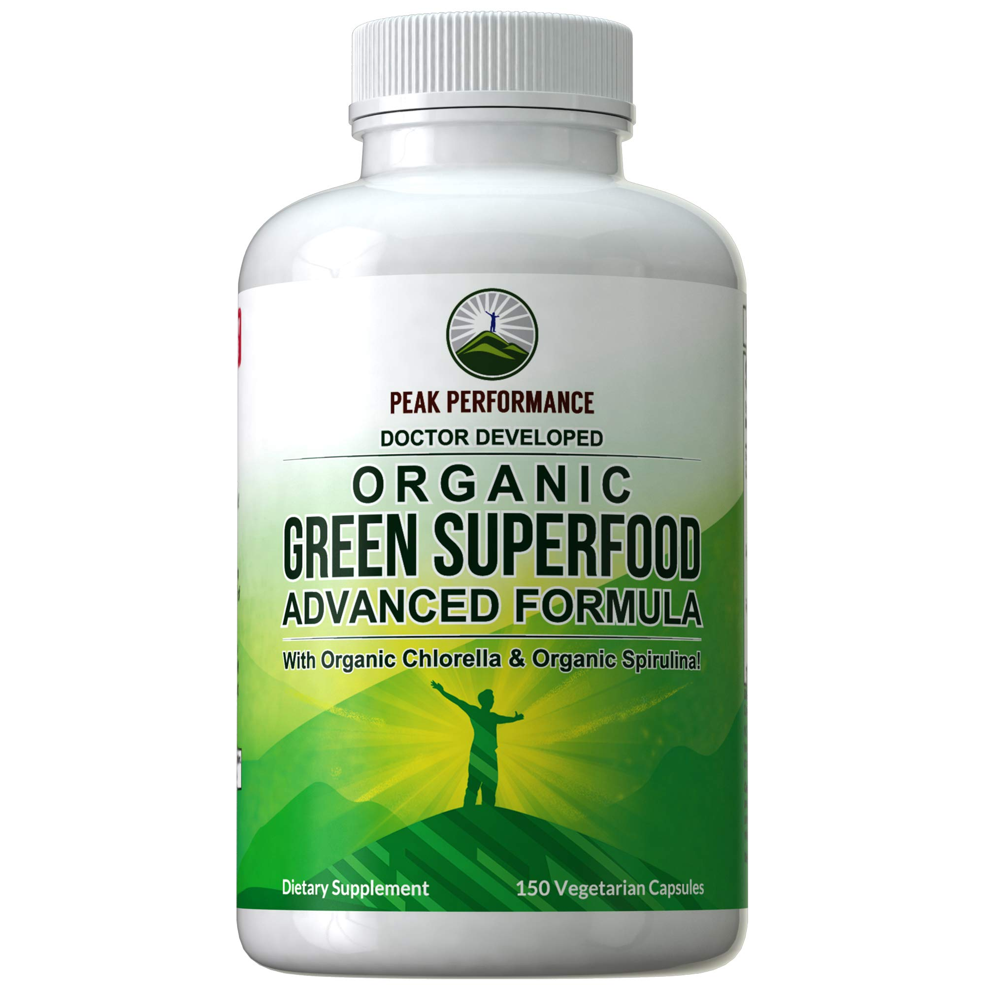 Organic Super Greens 150 Capsules - Green Juice Superfood Supplement with 25 All Natural Amazing Ingredients. Max Energy and Detox Super Food Pills with Spirulina, Spinach, Kale, Turmeric, Probiotics