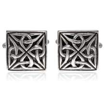Sterling Silver Celtic Oxidised Square Cufflinks with Presentation Gift Box. Great gift for a man on a birthday or Christmas