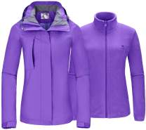 Women's Ski Jacket for Winter 3 in 1 Waterproof Windproof Snow Hooded Jacket with Warm Fleece Liner Jacket