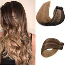 Clip in Hair Extensions Human Hair Balayage Medium Brown Highlighted Golden Brown Fading to Strawberry Blonde Balayage Soft Straight Hair for Women (20inch,#4P10T27)