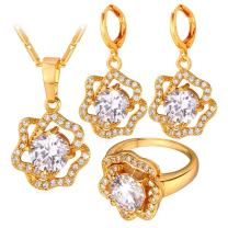 U7 Bride Jewelry Set Diamond-Accented CZ Rose Flower Shaped Pendant Necklace Earrings & Ring