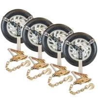 VULCAN Car Tie Down with Chain Anchors - Lasso Style - 2 Inch x 96 Inch, 4 Pack - PROSeries - 3,300 Pound Safe Working Load