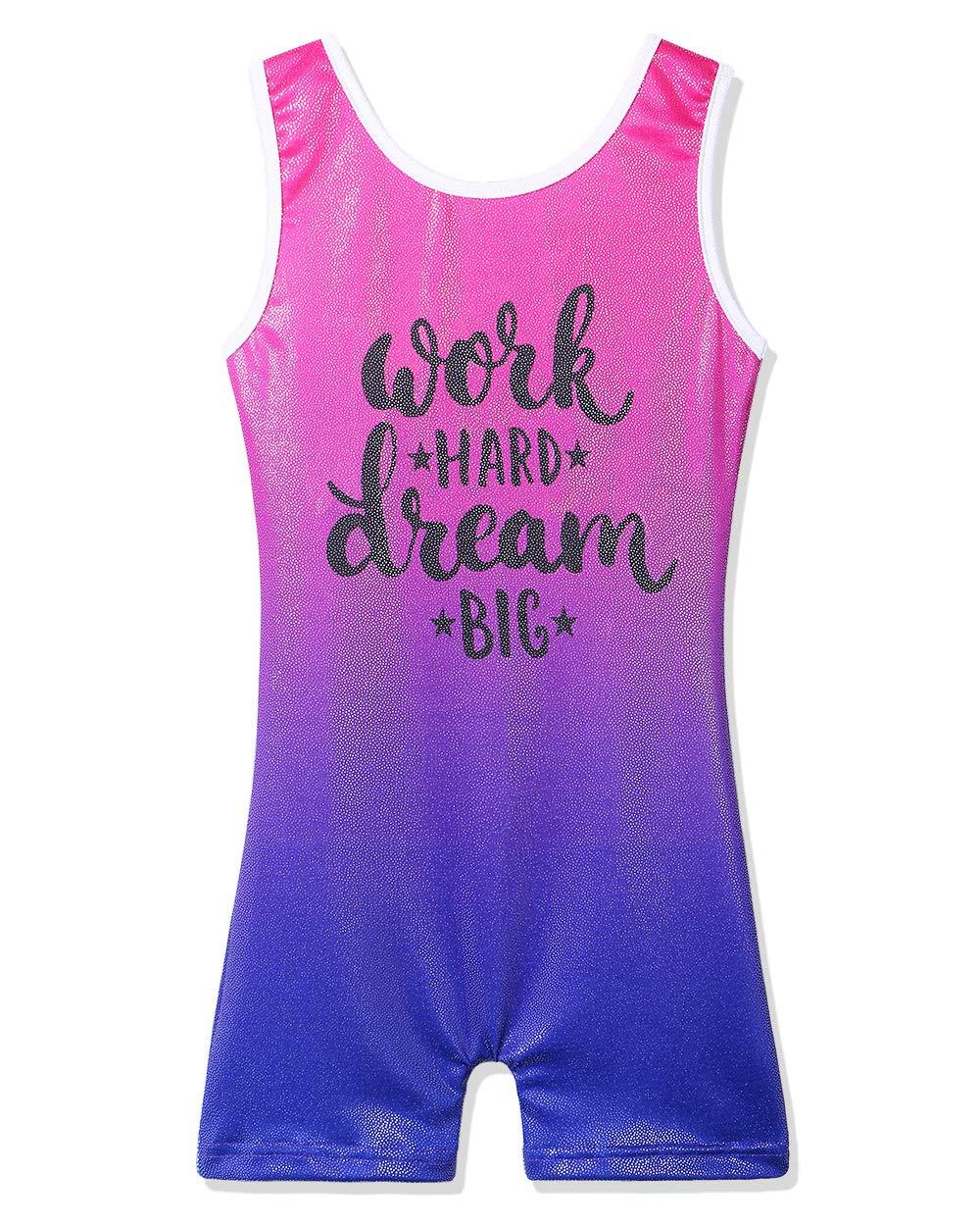 BAOHULU Leotard for Girls Gymnastics Kids Sparkle Tank Biketards with Shorts Dance Outfit