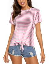 Women's Short Sleeve Striped Tee Tie Front Knot Casual Loose Fit T-Shirt Tops