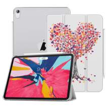 """MoKo Case Fit iPad Pro 11"""" 2018 - Support Apple Pencil's Magnetic Attachment Feature - Slim Lightweight Smart Shell Trifold Stand Cover with Translucent Frosted Back, Auto Wake/Sleep - Love Tree"""