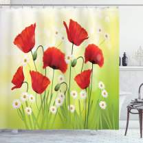 "Ambesonne Poppy Shower Curtain, Spring Environment with Poppies and Daisies on Grass Flourishing Nature Illustration, Cloth Fabric Bathroom Decor Set with Hooks, 84"" Long Extra, Red Green Ombre"