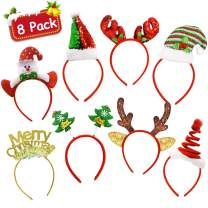 8 Pack Christmas Headbands Holiday Party Fancy Glitter Headband Hats Reindeer Antlers Snowman Xmas Tree Photo Prop Booth for Christmas Party