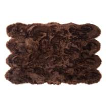Silky Super Soft Brown Faux Sheepskin Shag Rug Faux Fur - Machine Washable Great for Photography or Decor Get The Real Look Without Harming Animals (Octo Pelt (5 feet x 7 feet)