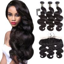 """Puddinghair Body Wave Brazilian 3 Bundles with Frontals Natural Black Unprocessed 100% Virgin Hair Bundles with 13""""X4"""" Ear to Ear Frontal 130 Density,Medium Brown Lace (20""""22""""24""""+Frontal 20"""")"""